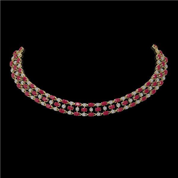 43.07 ctw Ruby & Diamond Necklace 10K Yellow Gold - REF-527F3M