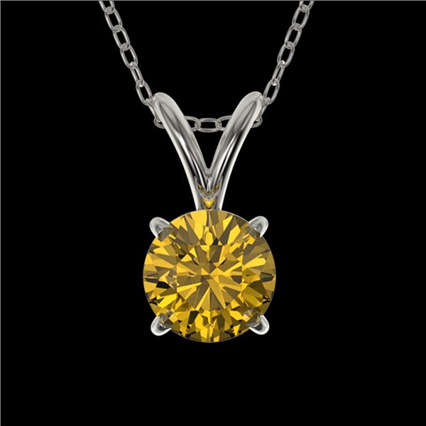 0.53 ctw Certified Intense Yellow Diamond Necklace 10k White Gold - REF-57N8F