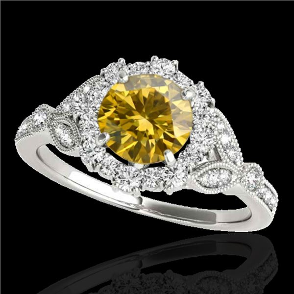 1.5 ctw Certified SI/I Fancy Intense Yellow Diamond Ring 10k White Gold - REF-190X9A