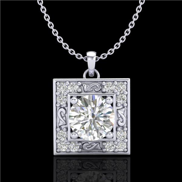 1.02 ctw VS/SI Diamond Solitaire Art Deco Necklace 18k White Gold - REF-200W2H