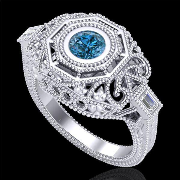 0.75 ctw Fancy Intense Blue Diamond Art Deco Ring 18k White Gold - REF-172R8K