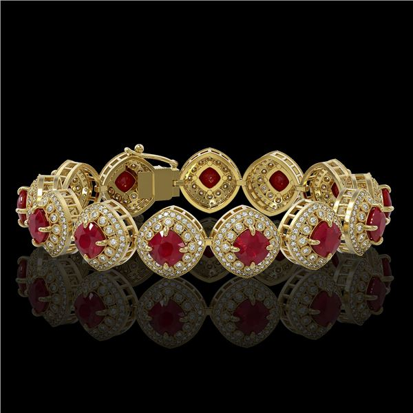 37.35 ctw Certified Ruby & Diamond Victorian Bracelet 14K Yellow Gold - REF-928W2H