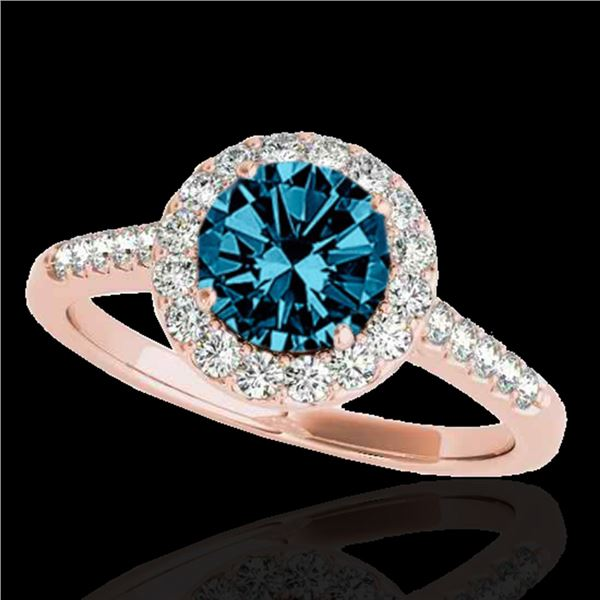 1.5 ctw SI Certified Fancy Blue Diamond Solitaire Halo Ring 10k Rose Gold - REF-150F2M