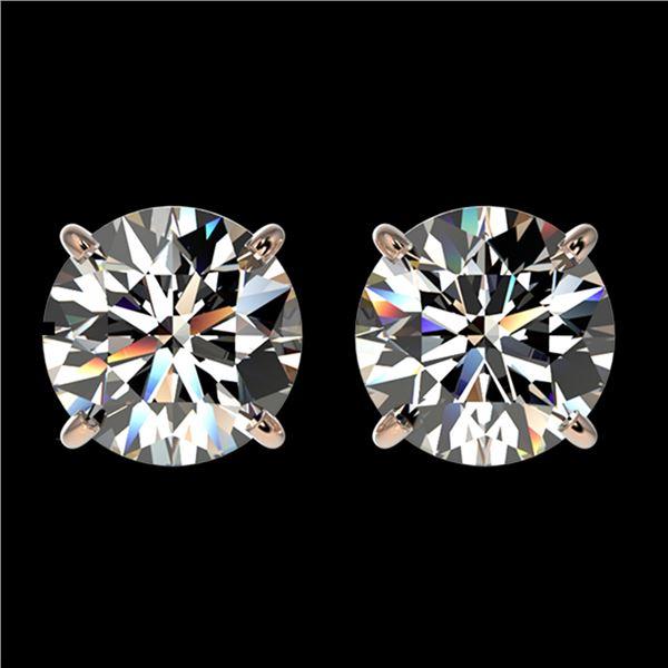 2.11 ctw Certified Quality Diamond Stud Earrings 10k Rose Gold - REF-256R3K