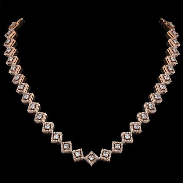16.4 ctw Princess Cut Diamond Micro Pave Necklace 18K Rose Gold - REF-1402G6W