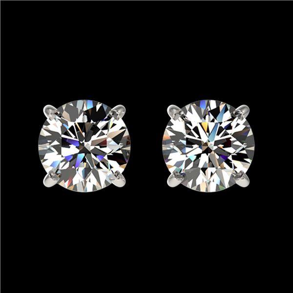 1.09 ctw Certified Quality Diamond Stud Earrings 10k White Gold - REF-72F3M