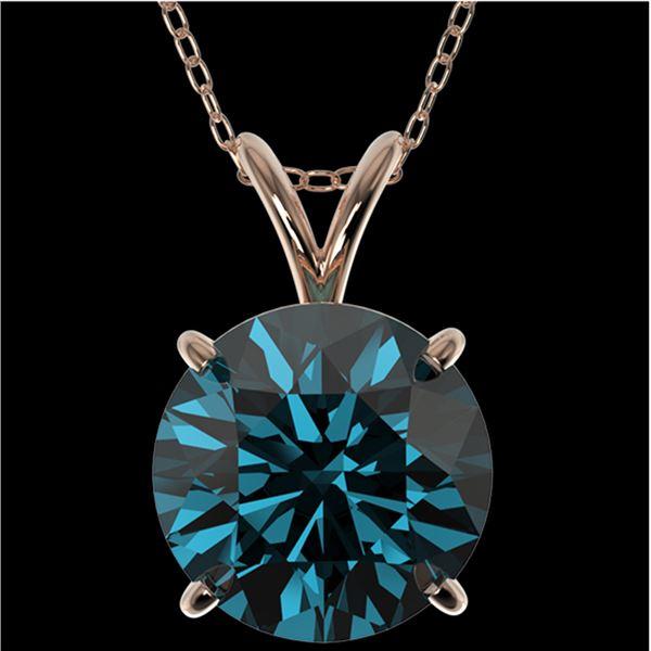 2.50 ctw Certified Intense Blue Diamond Necklace 10k Rose Gold - REF-429M5G