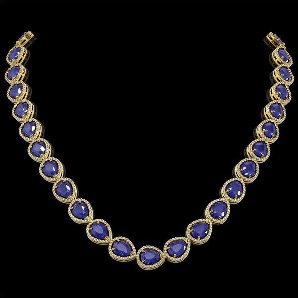 64.01 ctw Sapphire & Diamond Micro Pave Halo Necklace 10k Yellow Gold - REF-733F5M