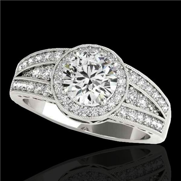 1.5 ctw Certified Diamond Solitaire Halo Ring 10k White Gold - REF-211F4M