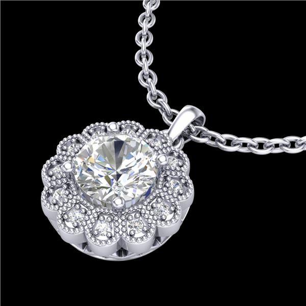 1.15 ctw VS/SI Diamond Solitaire Art Deco Stud Necklace 18k White Gold - REF-381M8G