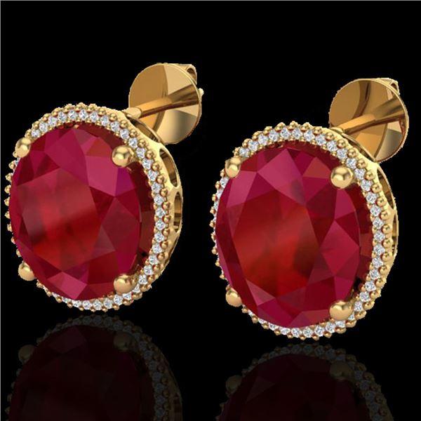 25 ctw Ruby & Micro Pave VS/SI Diamond Earrings 18k Yellow Gold - REF-254A5N
