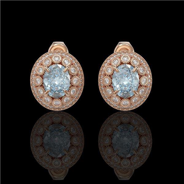 7.24 ctw Aquamarine & Diamond Victorian Earrings 14K Rose Gold - REF-221A6N
