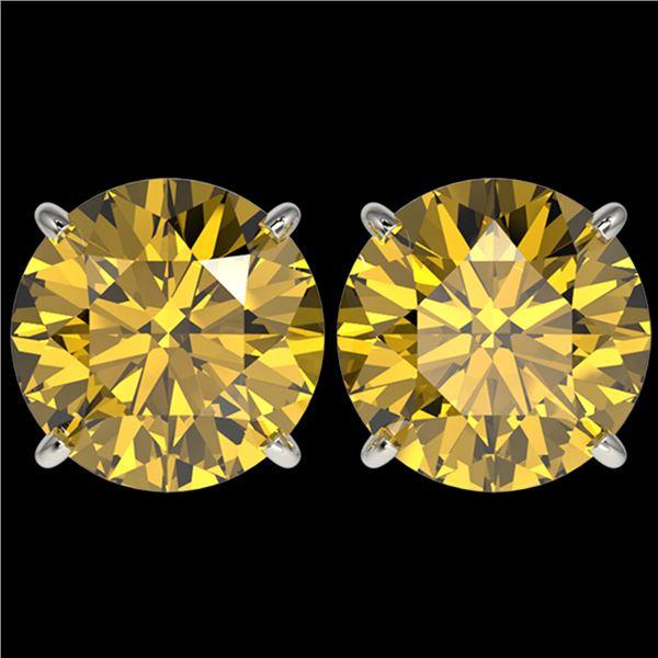 5 ctw Certified Intense Yellow Diamond Stud Earrings 10k White Gold - REF-810A2N