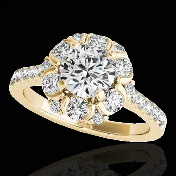 2.05 ctw Certified Diamond Solitaire Halo Ring 10k Yellow Gold - REF-225N2F