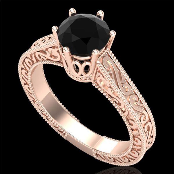 1 ctw Fancy Black Diamond Engagment Art Deco Ring 18k Rose Gold - REF-105F5M