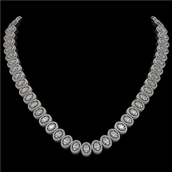 34.72 ctw Oval Cut Diamond Micro Pave Necklace 18K White Gold - REF-4700X9A