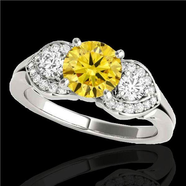 1.45 ctw SI/I Fancy Intense Yellow Diamond 3 Stone Ring 10k White Gold - REF-204Y5X