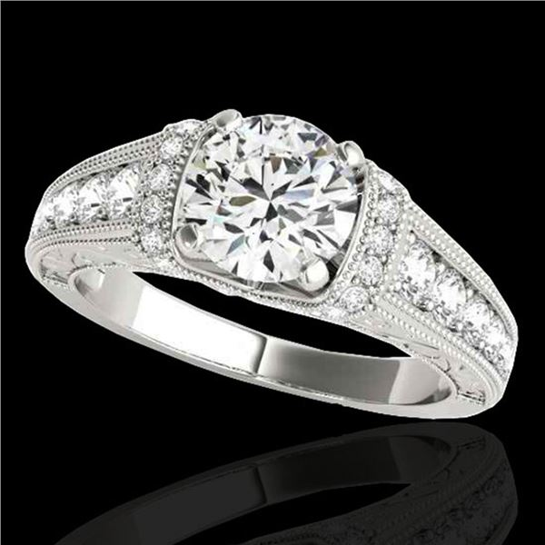 1.5 ctw Certified Diamond Solitaire Antique Ring 10k White Gold - REF-211R4K
