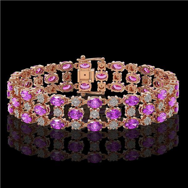 21.56 ctw Amethyst & Diamond Bracelet 10K Rose Gold - REF-227N3F