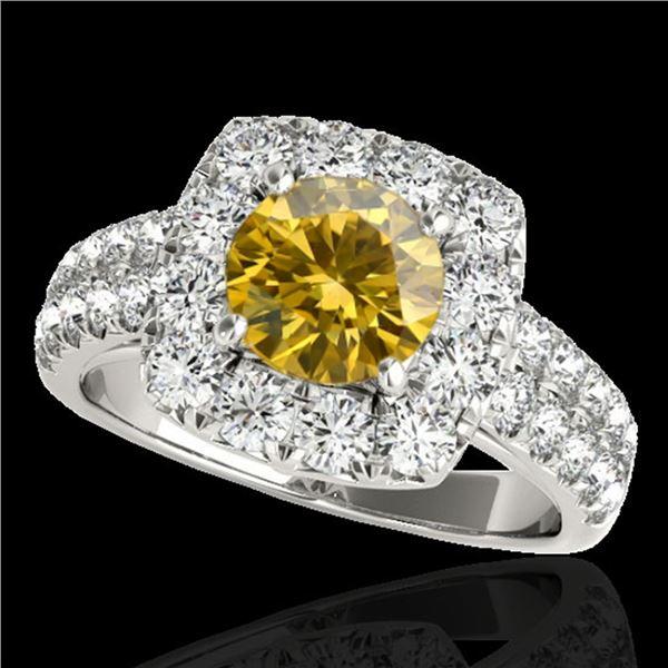 2.5 ctw Certified SI/I Fancy Intense Yellow Diamond Ring 10k White Gold - REF-259K3Y