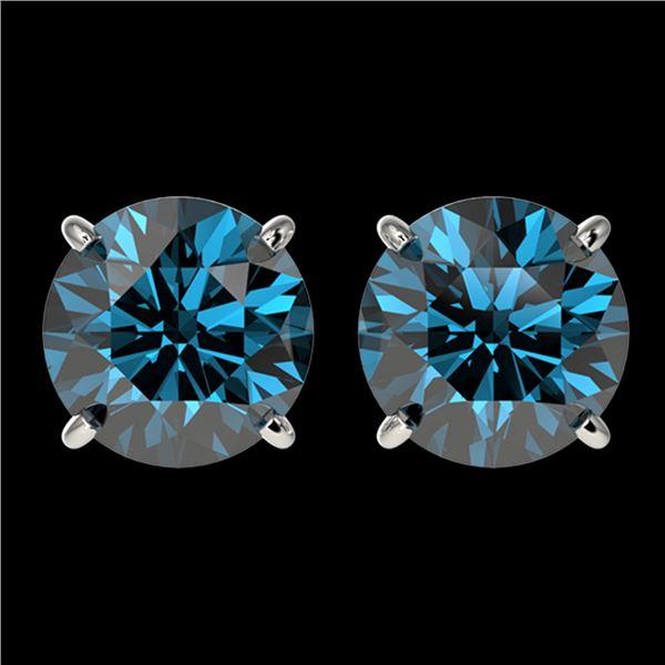 3.15 ctw Certified Intense Blue Diamond Stud Earrings 10k White Gold - REF-355A9N
