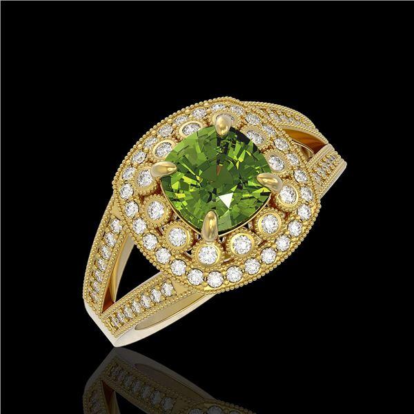 2.39 ctw Certified Tourmaline & Diamond Victorian Ring 14K Yellow Gold - REF-106X5A