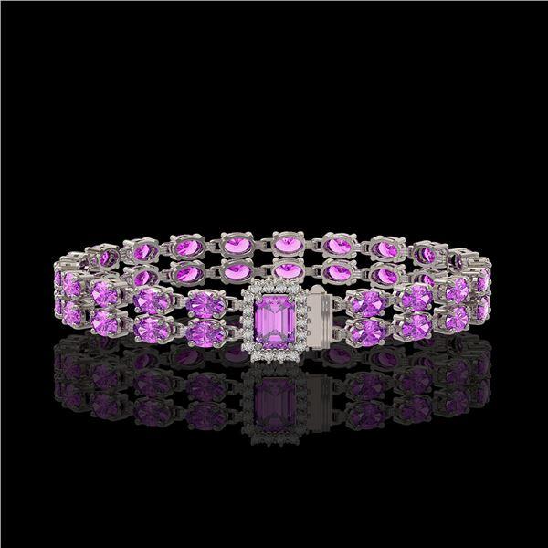 13.83 ctw Amethyst & Diamond Bracelet 14K White Gold - REF-236A4N