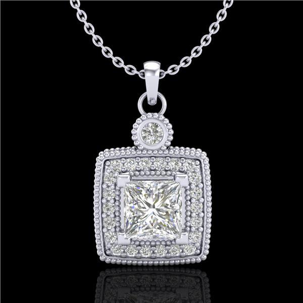 0.91 ctw Princess VS/SI Diamond Art Deco Stud Necklace 18k White Gold - REF-145A5N