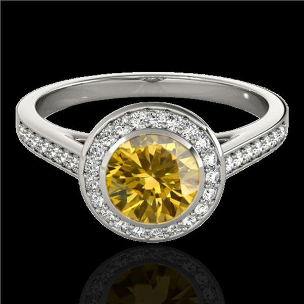 1.3 ctw Certified SI/I Fancy Intense Yellow Diamond Ring 10k White Gold - REF-177A3N