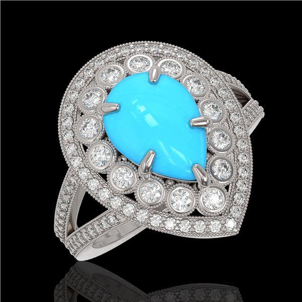 4.02 ctw Turquoise & Diamond Victorian Ring 14K White Gold - REF-123F6M