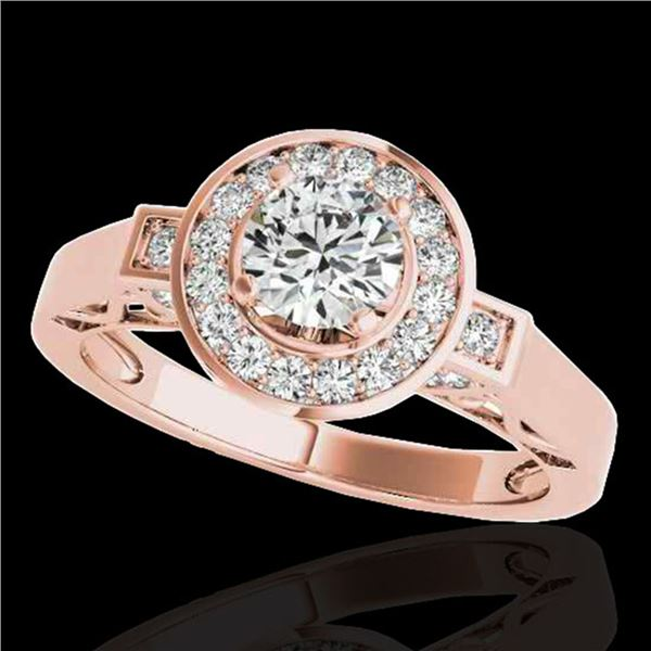 1.5 ctw Certified Diamond Solitaire Halo Ring 10k Rose Gold - REF-204F5M