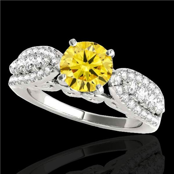 1.7 ctw Certified SI/I Fancy Intense Yellow Diamond Ring 10k White Gold - REF-215X5A