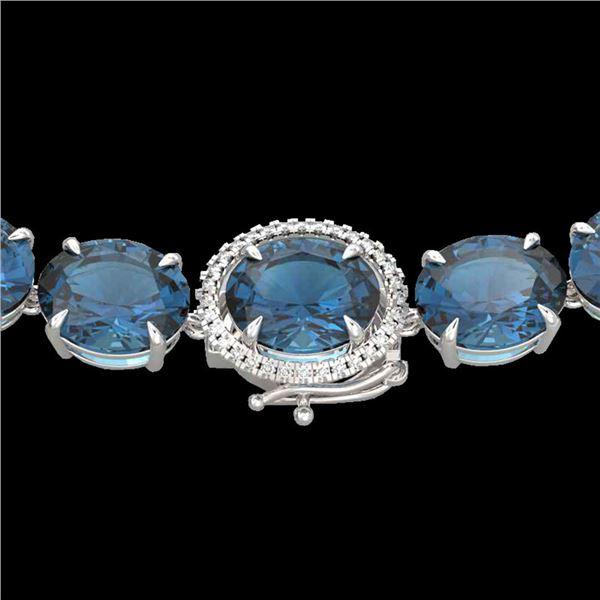 177 ctw London Blue Topaz & Diamond Micro Necklace 14k White Gold - REF-563X5A