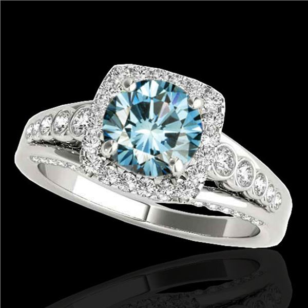 2 ctw SI Certified Blue Diamond Solitaire Halo Ring 10k White Gold - REF-185A5N