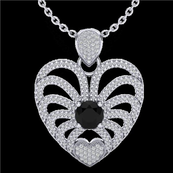 3.50 ctw Black & White Micro Diamond Heart Necklace 14k White Gold - REF-173H6R