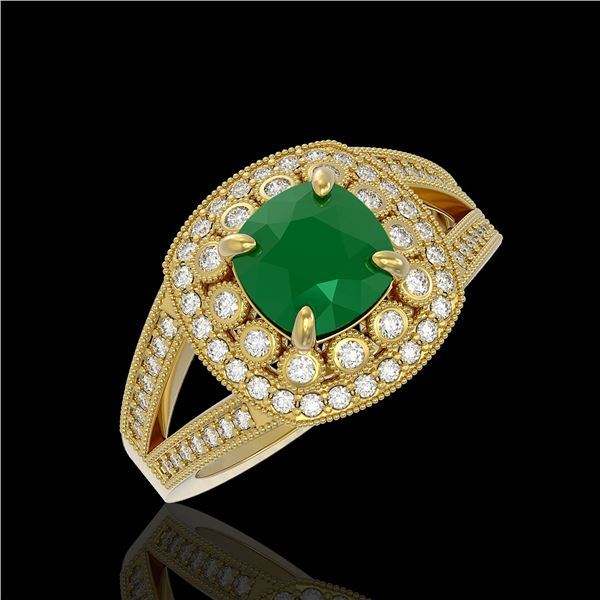2.69 ctw Certified Emerald & Diamond Victorian Ring 14K Yellow Gold - REF-104M9G