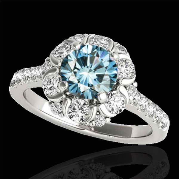 2.05 ctw SI Certified Fancy Blue Diamond Halo Ring 10k White Gold - REF-156Y8X