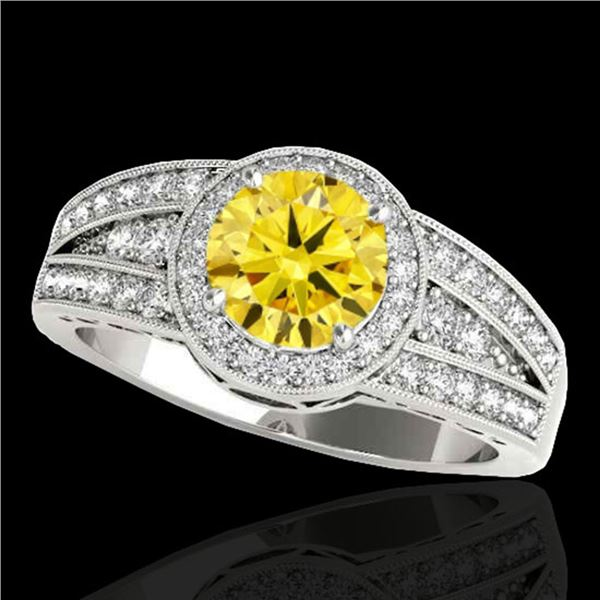 1.5 ctw Certified SI/I Fancy Intense Yellow Diamond Ring 10k White Gold - REF-211R4K