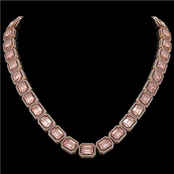 81.64 ctw Morganite & Diamond Micro Pave Halo Necklace 10k Rose Gold - REF-1728Y2X