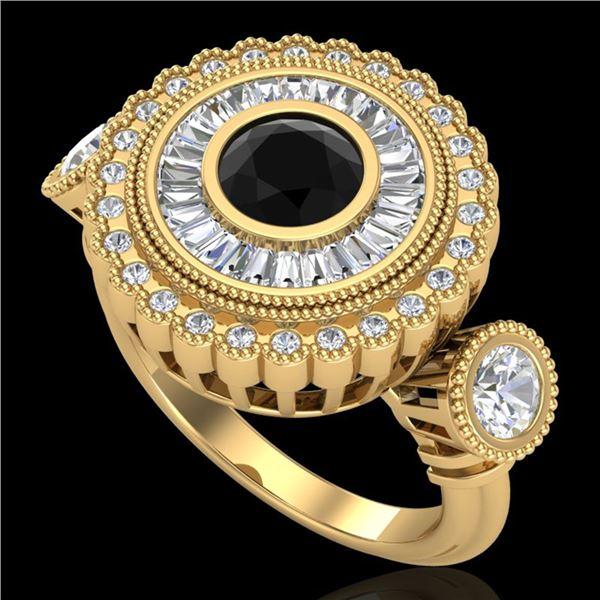 2.62 ctw Fancy Black Diamond Art Deco 3 Stone Ring 18k Yellow Gold - REF-254W5H