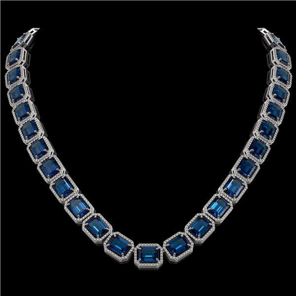 79.66 ctw London Topaz & Diamond Micro Pave Halo Necklace 10k White Gold - REF-740N2F