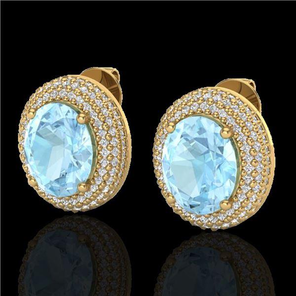 8 ctw Aquamarine & Micro Pave VS/SI Diamond Earrings 18k Yellow Gold - REF-204R9K