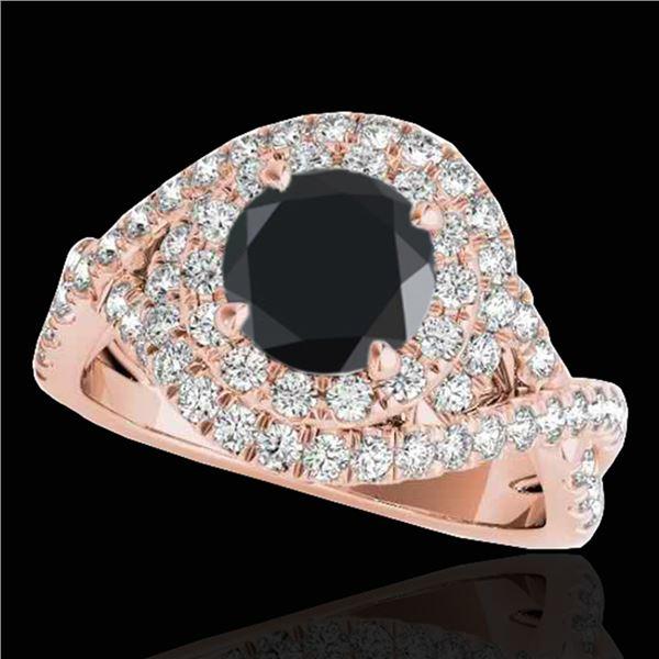 1.75 ctw Certified VS Black Diamond Solitaire Halo Ring 10k Rose Gold - REF-75N2F