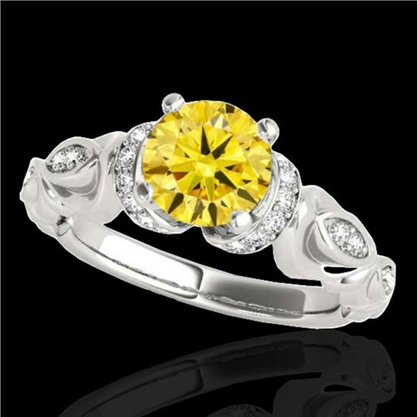 1.2 ctw Certified SI Intense Yellow Diamond Antique Ring 10k White Gold - REF-184X3A