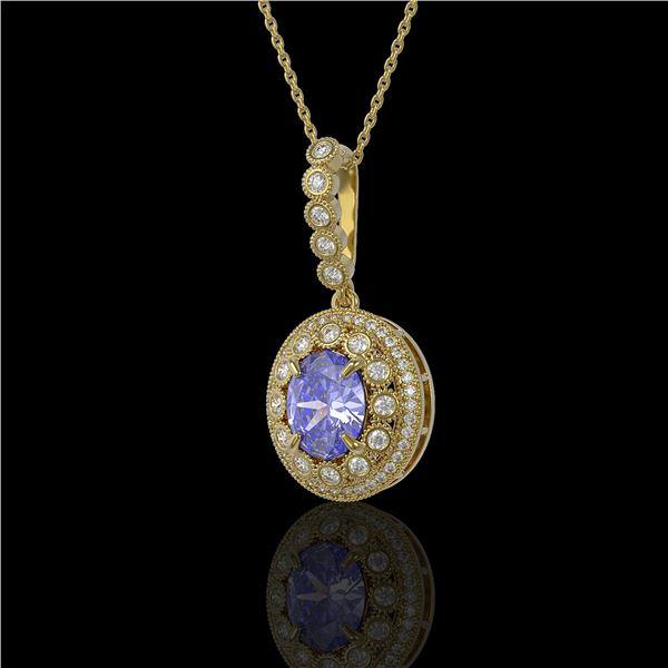 4.77 ctw Tanzanite & Diamond Victorian Necklace 14K Yellow Gold - REF-169N8F