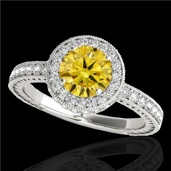 1.51 ctw Certified SI/I Fancy Intense Yellow Diamond Ring 10k White Gold - REF-197N8F
