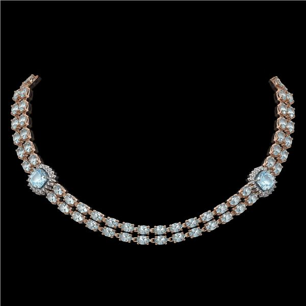 38.95 ctw Sky Topaz & Diamond Necklace 14K Rose Gold - REF-527G3W