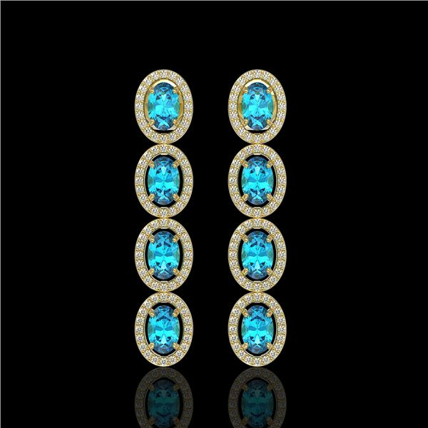 6.28 ctw Swiss Topaz & Diamond Micro Pave Halo Earrings 10k Yellow Gold - REF-143F6M