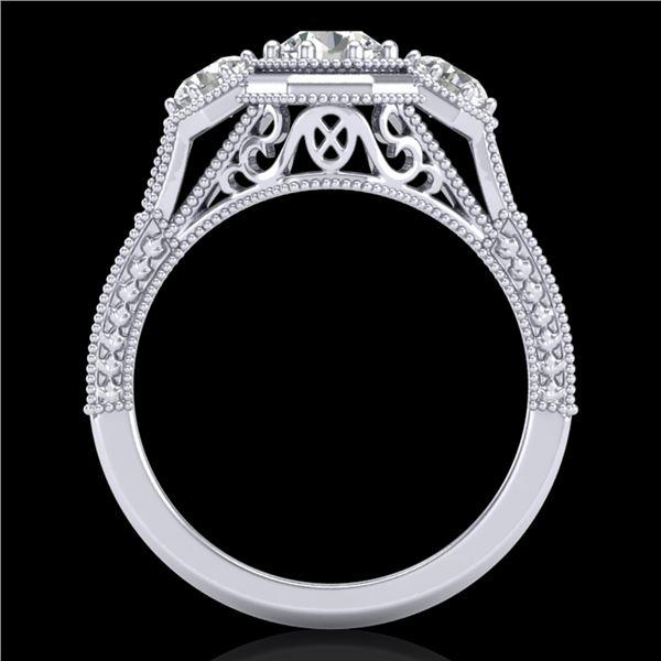 1.05 ctw VS/SI Diamond Solitaire Art Deco 3 Stone Ring 18k White Gold - REF-200G2W