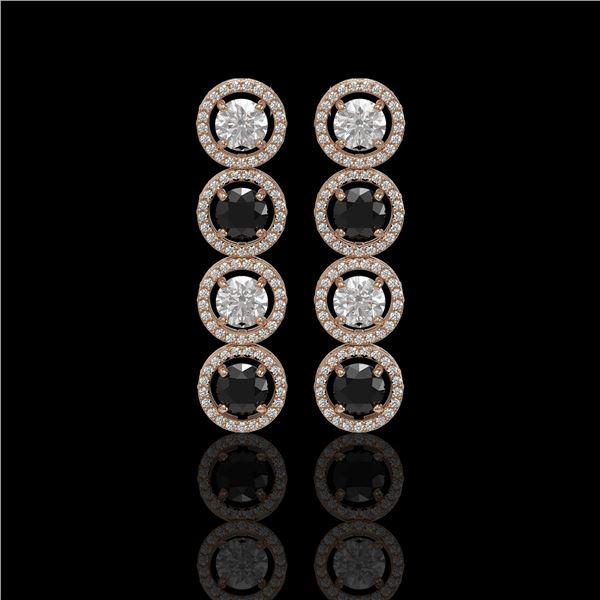 5.58 ctw Black & Diamond Micro Pave Earrings 18K Rose Gold - REF-436F2M